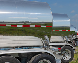 Cargo Chemical Tankers Trailers in a Row