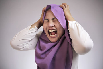 Angry Mad Stressed Muslim Businesswoman