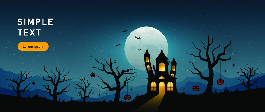 Vector illustration of happy halloween haunted house, in flat style.