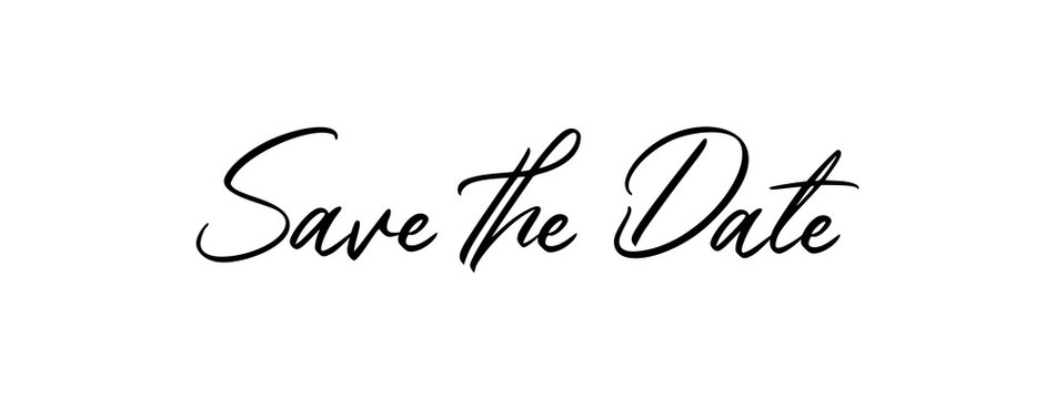 Save the date, calligraphy text. Vector.
