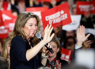 Sophie Gregoire Trudeau, the wife of Liberal leader and Canadian Prime Minister Justin Trudeau, campaigns for the upcoming election at the Musee de la nature et des sciences, in Sherbrooke