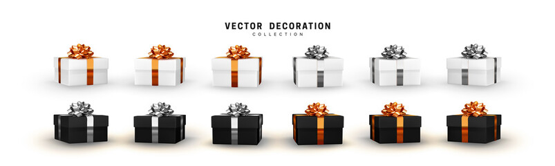 Fototapete - Set of gifts box. Collection realistic gift presents. Surprise boxes. Celebration decoration objects. Isolated on white background. vector illustration