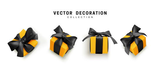 Fototapete - Set of gifts box. Collection realistic gift presents view top, side perspective view. Celebration decoration objects. Isolated on white background. vector illustration