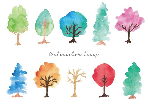 水彩の木のセット