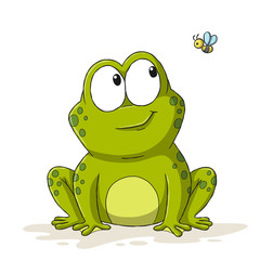 Funny cartoon frog with bee. Hand drawn vector illustration with separate layers.