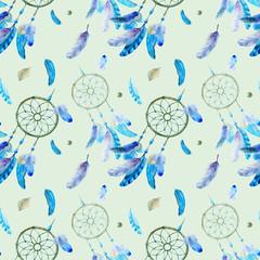 seamless pattern with feathers and dream Catcher