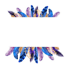 Watercolor Feathers frame border
