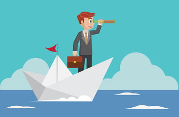 Businessman with a telescope floating in the sea on a paper boat.