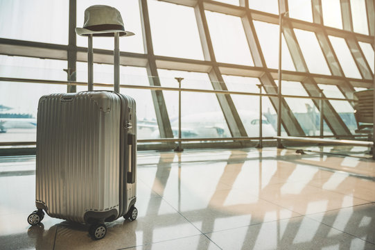 Trolley luggage Available at a large airport, a concept about traveling, adventures around the world
