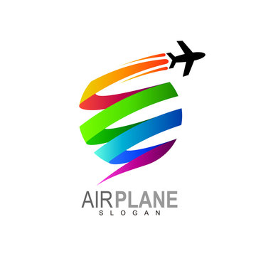 Airplane logo with globe and colorful design vector