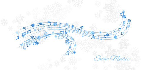 Fond de hotte en verre imprimé Pont Christmas design element from flying lines, music notes and snowflakes. Winter holiday decoration on the light background from snow.