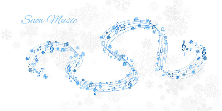 Christmas design element form  flying lines, music notes and snowflakes. Winter holiday decoration on the light background from snow.