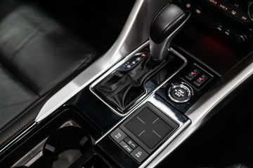Gear shift. automatic transmission gear of car , car interior.