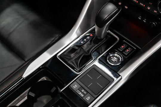Gear shift. automatic transmission gear of car , car interior.