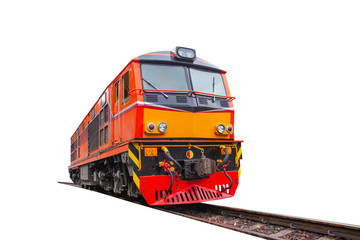 head train hauled diesel electric locomotive with isolated white background