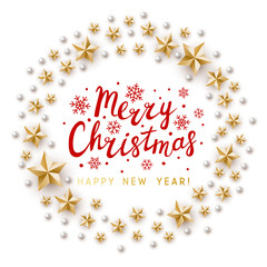 Christmas greeting card with golden stars decor on white background - vector round frame for winter holiday design