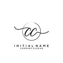 CC Initial handwriting logo with circle template vector.