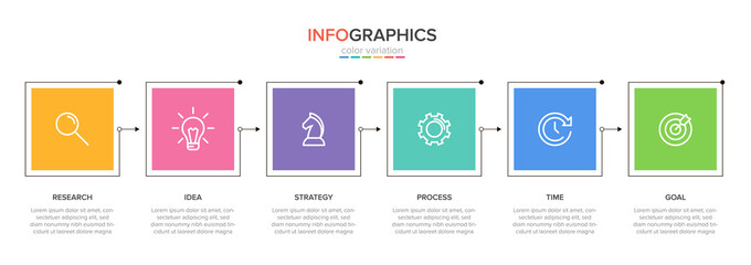 Concept of arrow business model with 6 successive steps. Six colorful graphic elements. Timeline design for brochure, presentation. Infographic design layout.