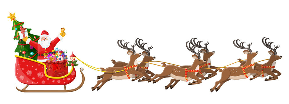 Santa claus on sleigh full of gifts, christmas tree and his reindeers. Happy new year decoration. Merry christmas holiday. New year and xmas celebration. Vector illustration in flat style