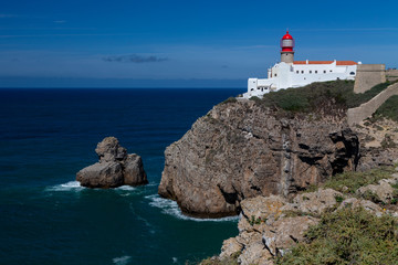 The Lighthouse at Cape St. Vincent or Cabo de Sao Vicente, the southwesternmost point of mainland Europe in Portugal.