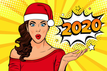 2020 New Year comic book style postcard or greeting card with WOW sexy young girl. Illustration in pop art retro comic style.