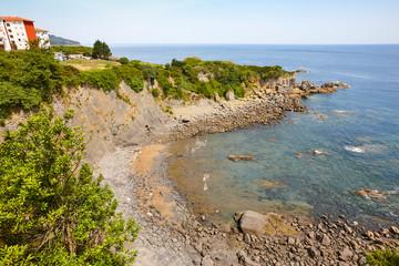 Spanish coastline in Basque country. Bermeo beach. Urdaibai, Spain