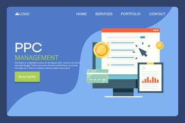 Ppc management, cost per click program, search engine marketing, digital advertising, internet web technology concept. Flat design landing page template.