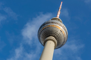 Detail of the television tower, Berlin, Germany, against a beautiful blue sky