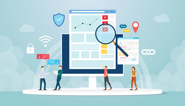 organic seo concept with team people work on analytics analysis development with modern flat style - vector