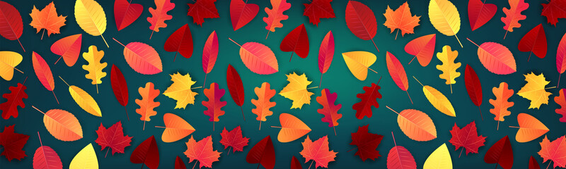Autumn red and orange leaves on green background. Autumn long banner. vector illustration.