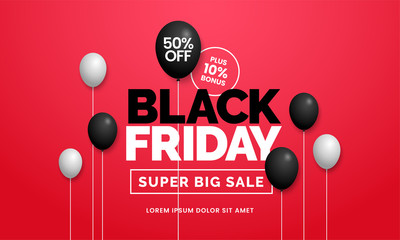 Black friday sale 50% off poster background social media promotion web banner template design with black balloon ornament on red backdrop wall vector illustration