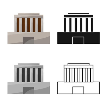 Isolated object of building and mausoleum logo. Set of building and vietnamese stock symbol for web.