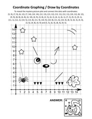 Coordinate graphing, or draw by coordinates, math worksheet with Halloween cat, lying in wait for prey: To reveal the mystery picture plot and connect the dots with given coordinates. Answer included.