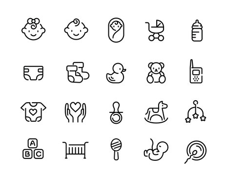 Minimal cute baby line icon set