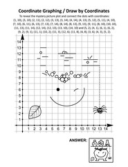 Coordinate graphing, or draw by coordinates, math worksheet with Halloween apothecary and witch's pot: To reveal the mystery picture plot and connect the dots with given coordinates. Answer included.