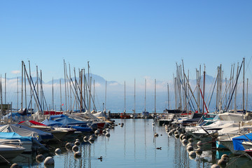 The marina in Vidy in Lausanne, Switzerland on a beautiful summer morning in July 2019.