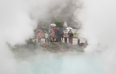 Visitors are seen at the Umi Jigoku hotspring also known as Sea Hell in Beppu