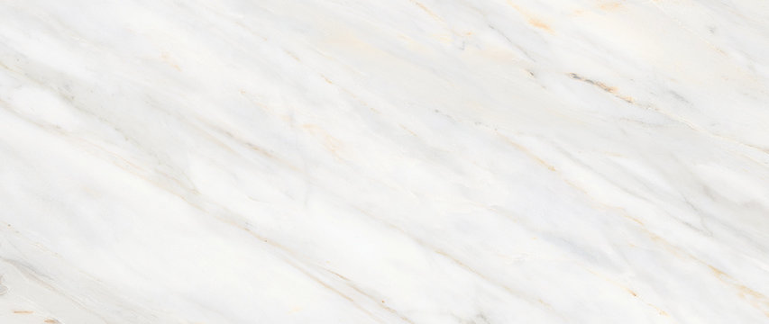 White Carrara Marble Texture Background With Curly Grey-Brown Colored Veins, It Can Be Used For Interior-Exterior Home Decoration and Ceramic Decorative Tile Surface, Wallpaper, Architectural Slab.