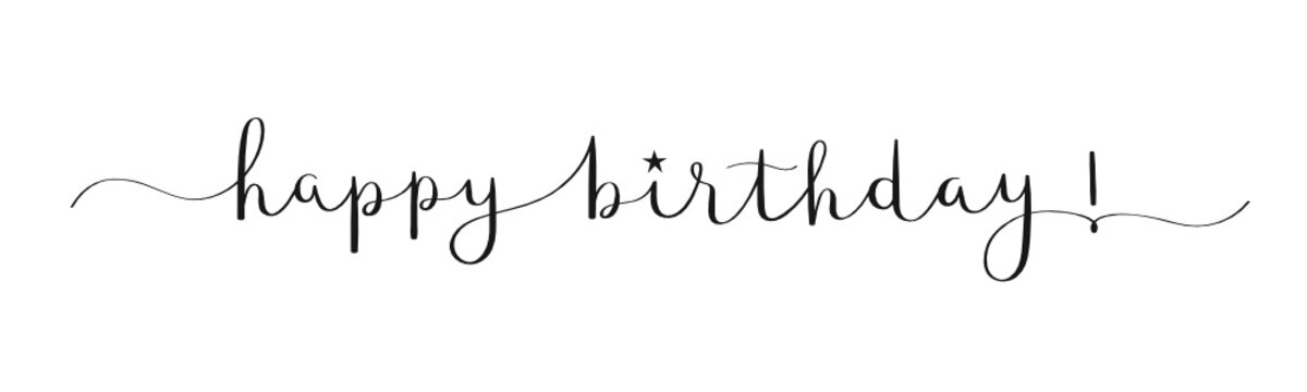 HAPPY BIRTHDAY! black vector calligraphy banner