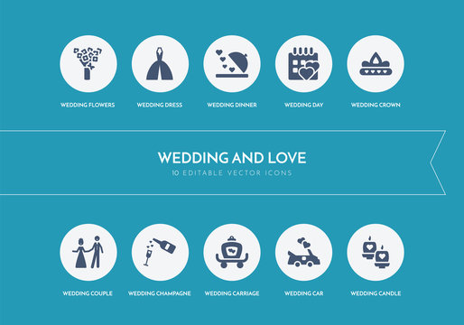 10 wedding and love concept blue icons