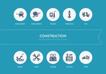 10 construction concept blue icons