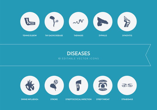10 diseases concept blue icons