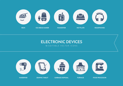 10 electronic devices concept blue icons