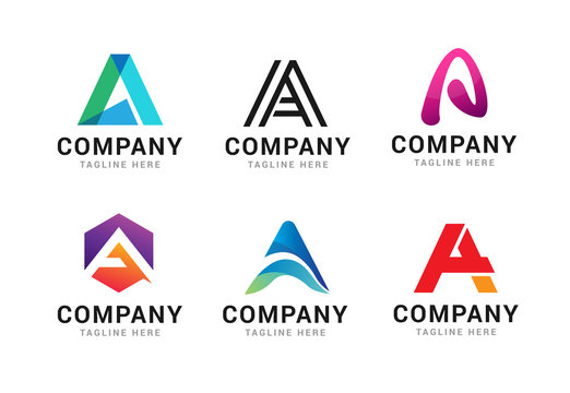 Set of letter A logo icons design template elements. Collection of vector sign symbol