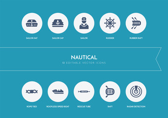 10 nautical concept blue icons