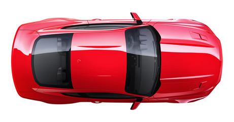 Red coupe car - Top View