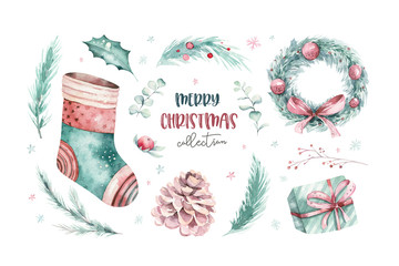 Wall Mural - watercolor holiday christmas clipart. Winter decoration element. Merry christmas design. Pine tree branch, frame, berries. New year invitation decorative design