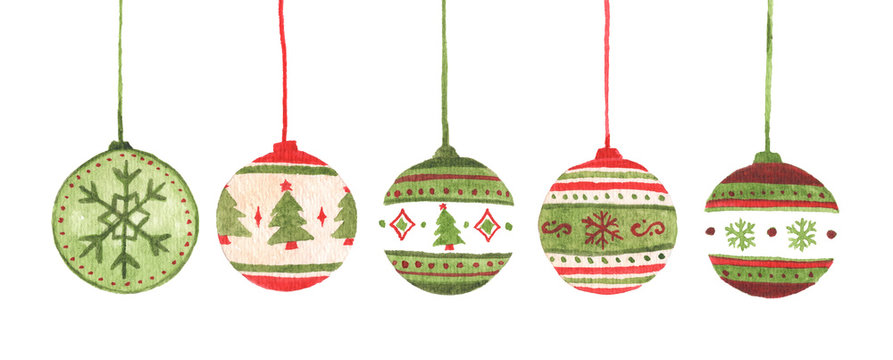 Colorful christmas balls set. Isolated on white background. Watercolor Christmas card for invitations, greetings, holiday christmas toy for fir tree.