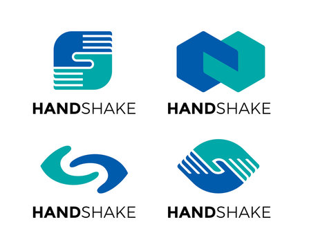 Set of abstract handshake vector symbol logo. Partners deal icon symbol