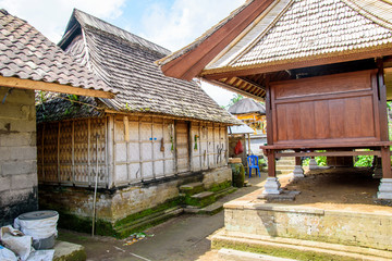 Old wooden house in Panglipuran traditional village, Bali, Indonesia